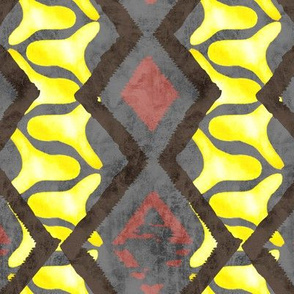 19-08u Snakeskin Abstract Yellow Gray Black Terra Cotta