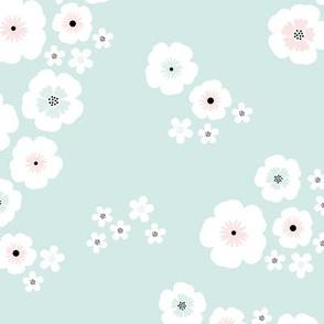 Romantic poppy flowers boho gipsy summer blossom garden mint