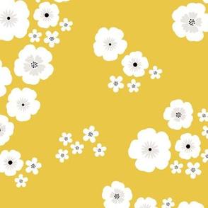 Romantic poppy flowers boho gipsy summer blossom ochre yellow