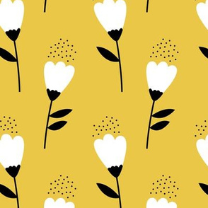 Romantic cotton balls flowers boho gipsy summer blossom ochre yellow