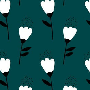 Romantic cotton balls flowers boho gipsy winter blossom teal blue