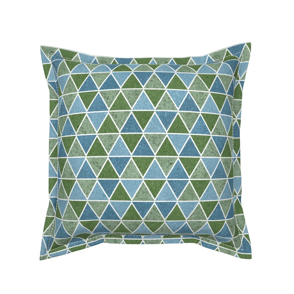 Serama Throw Pillow featuring textured triangles - blue and green by diseminger