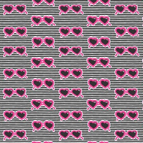 (small scale) heart shaped glasses on stripes (hot pink on stripes) C19BS