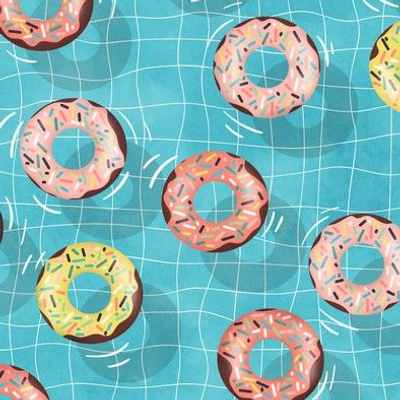Chocolate Donuts in the  Summer Pool - small scale