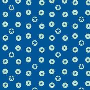 Green on blue stars by Kaorina