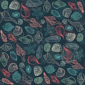 Line Art Seashells on Dark