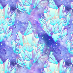 Crystal healing stars on purple nebula