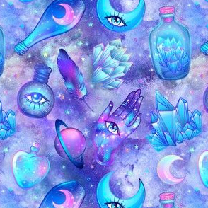Mystic potion bottles on purple nebula