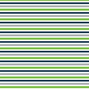 The Navy and the Green: Mini Multi Stripes - Horizontal