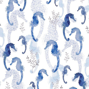 Seahorse Pointilism Blue