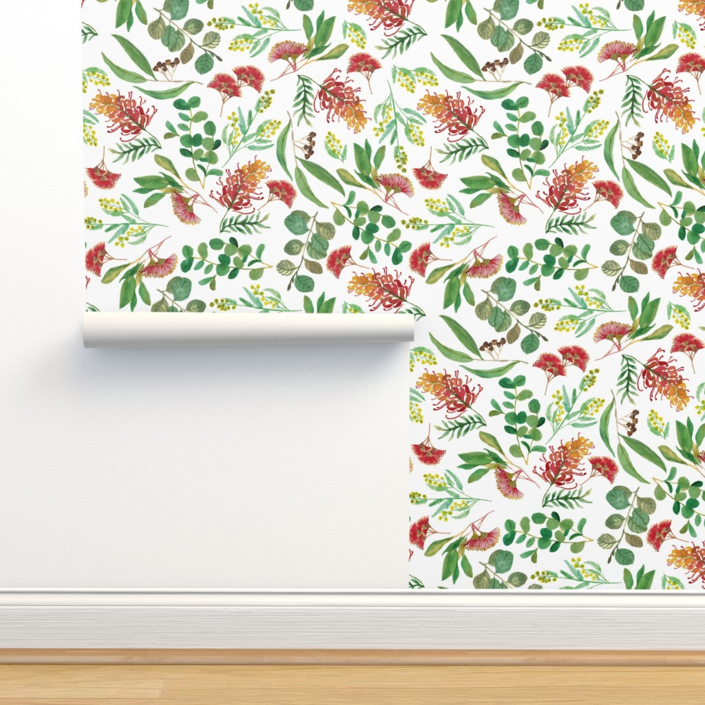 Isobar Durable Wallpaper featuring Australian Botanical {White} by ceciliamok