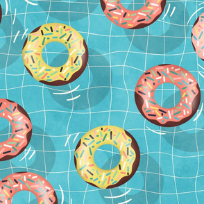 Chocolate Donuts in the  Summer Pool - large scale
