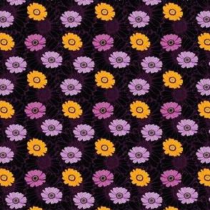 Big vector daisies seamless pattern, dark background
