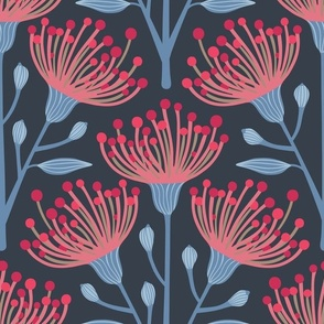Australian Eucalyptus in Navy Blue Deep Red Pink Light Blue-LARGE Scale