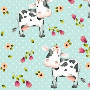 Spotted Cows – Pink & Blush Flowers - Birds Egg Dot