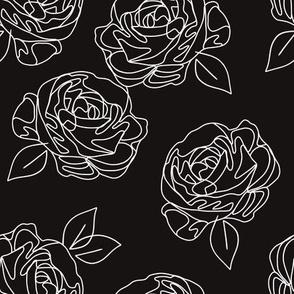 "Minimalist roses black and white 9"""