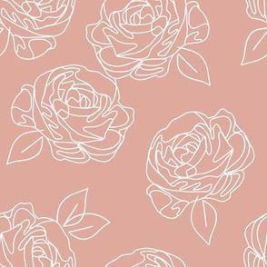 "Minimalist roses on baby pink 9"""