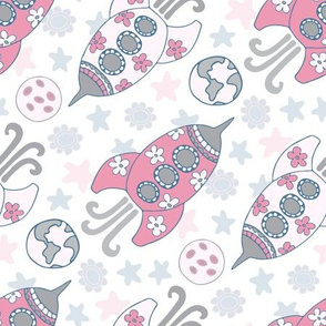 Space Girls Rockets Planets Pink Gray White