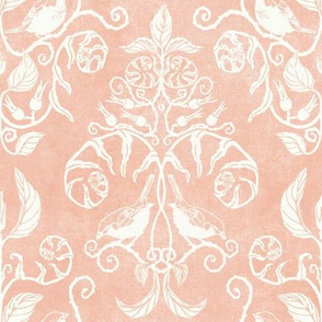 Damask Woodland Bird Blush Coral Woodland Nature Nursery Kids Forest Fern Wild Rose