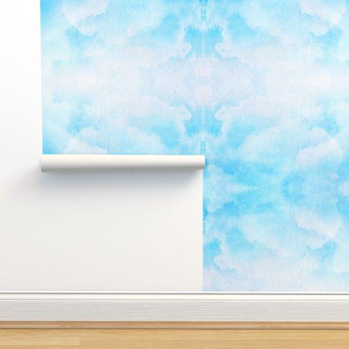 Wallpaper Watercolor Light Blue Blue Blue Teal Clouds Abstract Modern Pattern