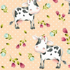 Spotted Cows – Pink & Blue Flowers - Apricot Dot