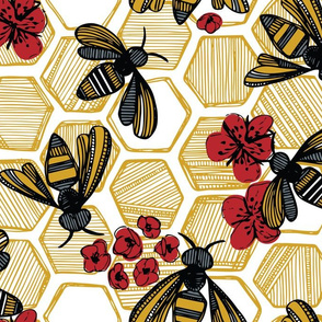 Honey Bee Hexagon Red on White Large
