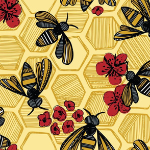 Honey Bee Hexagon Red On Yellow Large