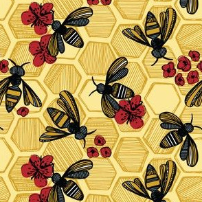 Honey Bee Hexagon Red On Yellow Small