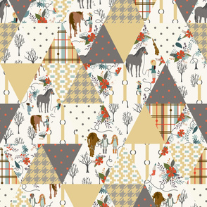 Horses and Girls - Straw - Triangle Quilt, Cheater Quilt, Whole cloth Quilt