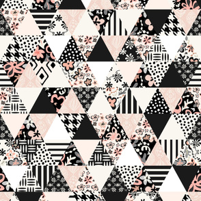 Floral and Lace - Triangle Quilt - Black, White, Pale Pink