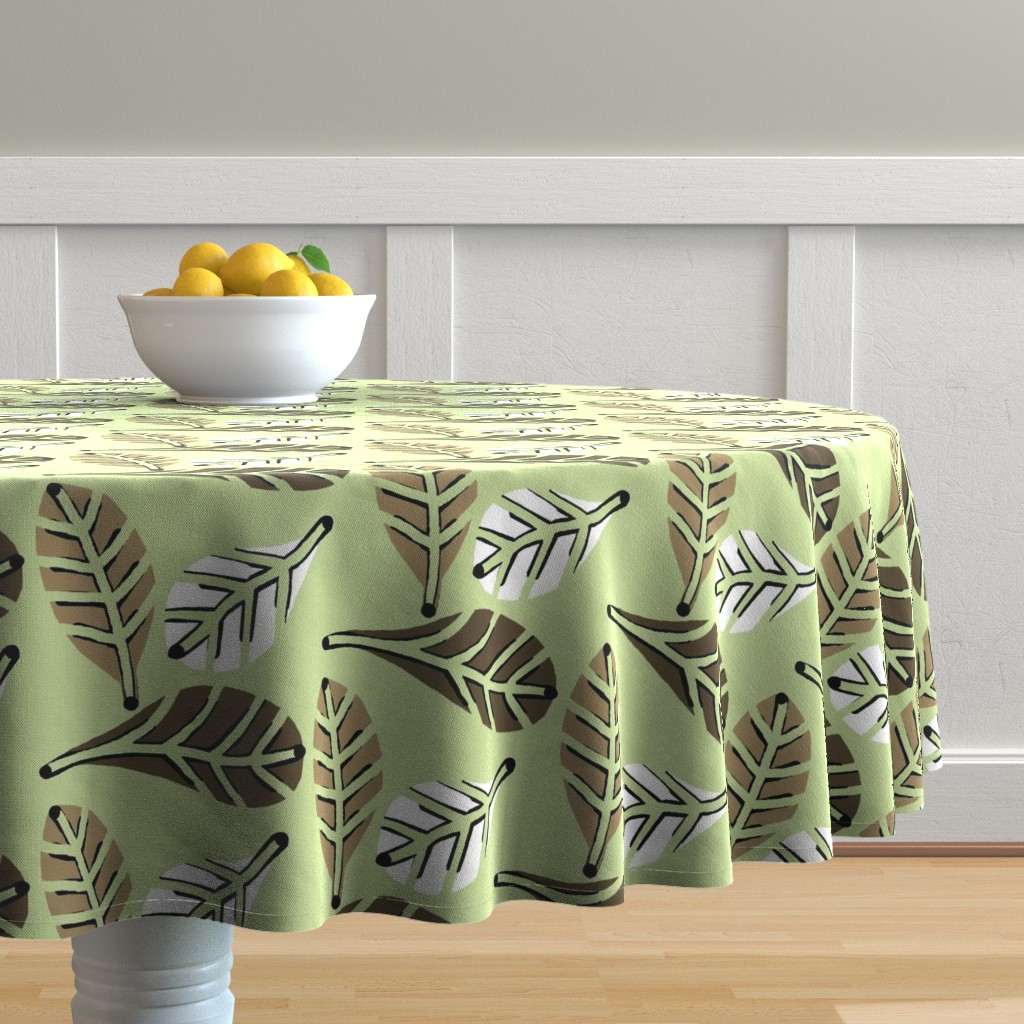 Malay Round Tablecloth featuring Natures Beauty / Green Brown White   by franbail