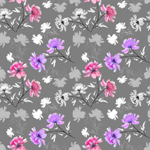 Lavender and Pink Peonies on grey background