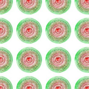 Watercolor mosaic in green and coral