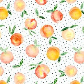 Peachy summer, larger scale || watercolor peaches with polka dot