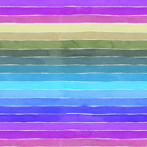 Groovy Watercolor Stripes - Large Scale
