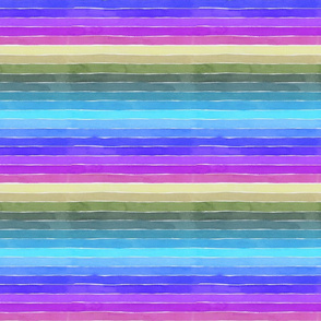 Groovy Watercolor Stripes - Small Scale