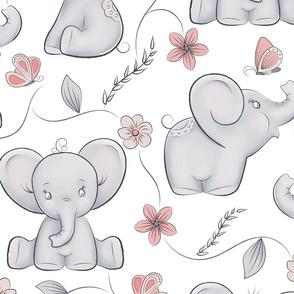 Cute little elephants in bigger scale 8in