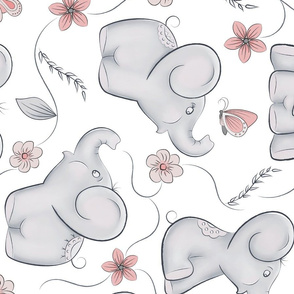 Cute little elephants in bigger scale 8in Rotated