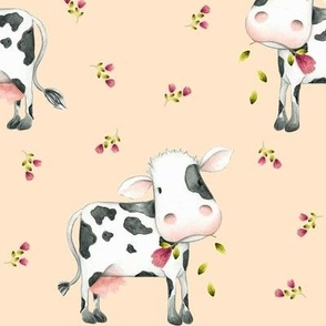 Cute Spotted Cows – Pink Magenta Flowers - Light Apricot