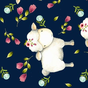 Little Sheep - Pink & Blue Flowers (navy) Large scale, ROTATED