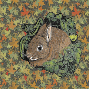 Pen and Ink Bunny for Pillow