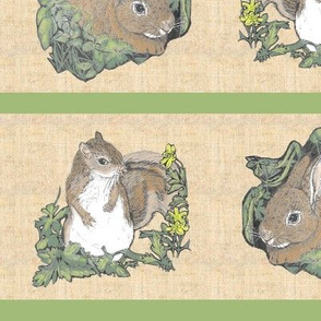 Bunny and Squirrel Stripe