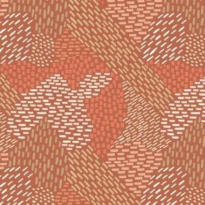 abstract brush strokes, coral, peach, tan, brick
