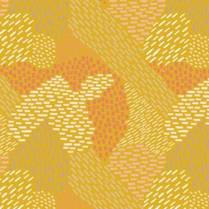 abstract brush strokes, tans, peach on mustard
