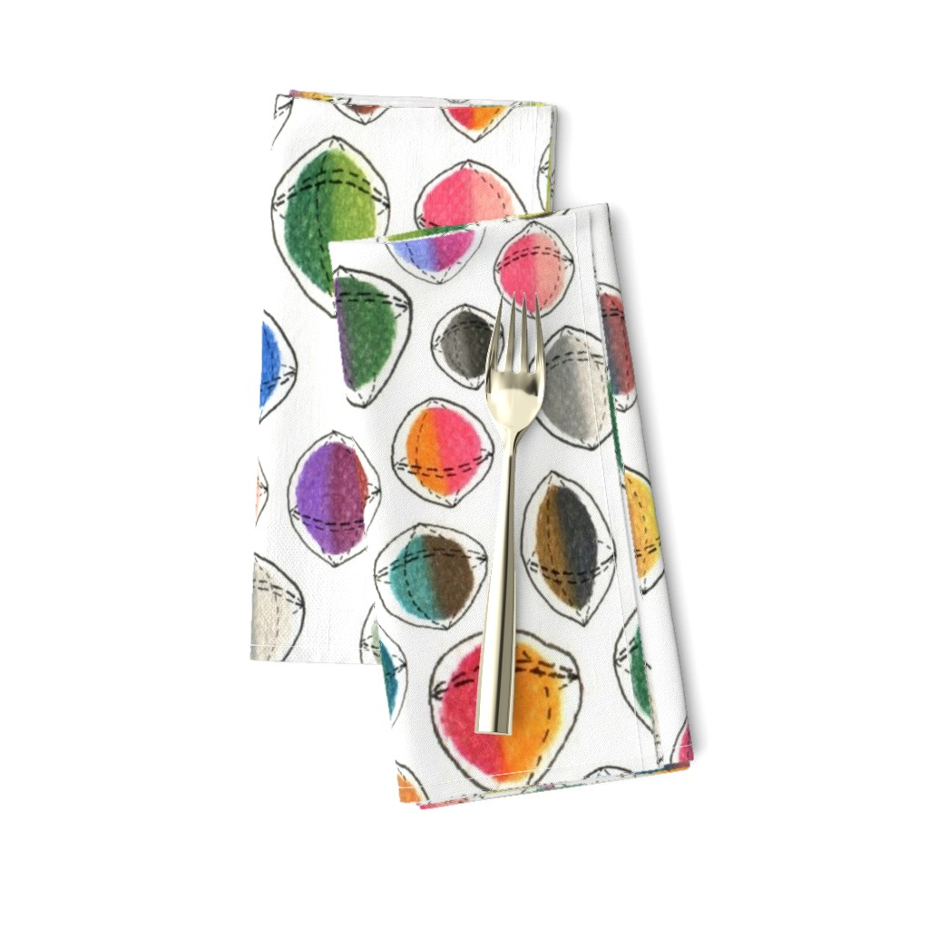 Amarela Dinner Napkins featuring colorful hemispheres, white rainbow abstract minimalist by amy_g