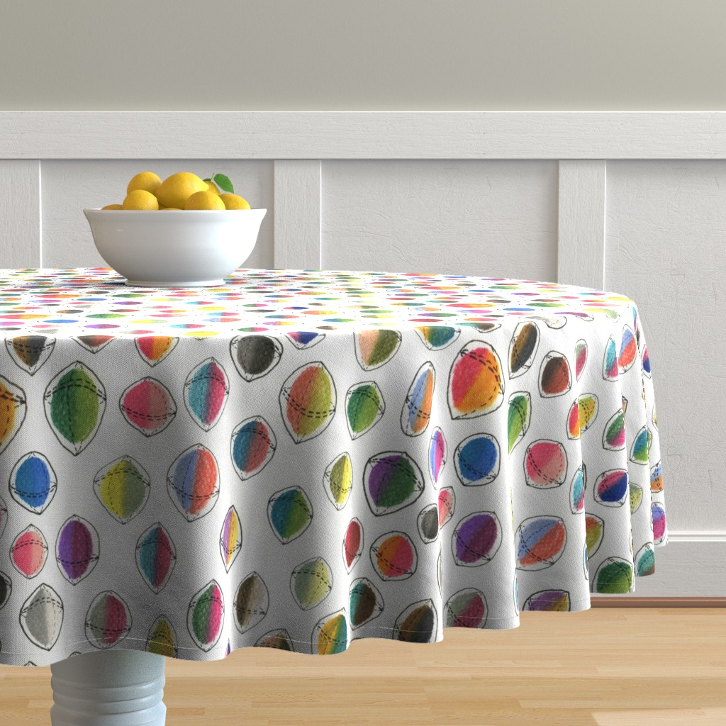 Malay Round Tablecloth featuring colorful hemispheres, white rainbow abstract minimalist by amy_g