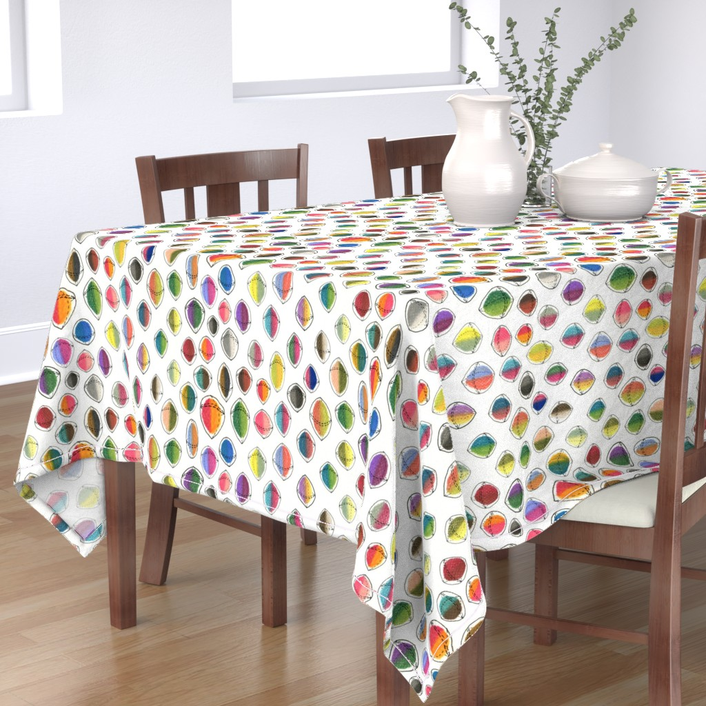 Bantam Rectangular Tablecloth featuring colorful hemispheres, white rainbow abstract minimalist by amy_g