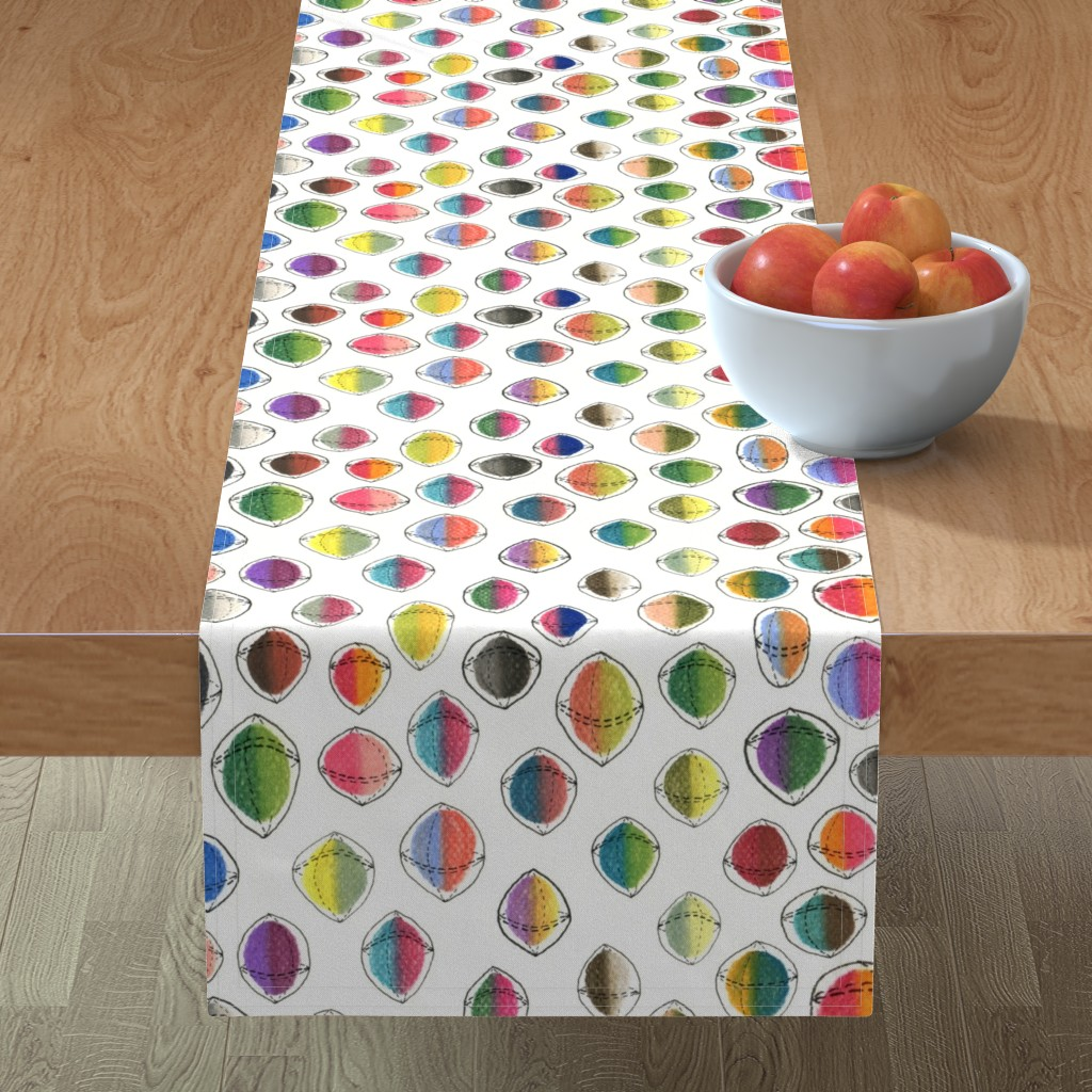 Minorca Table Runner featuring colorful hemispheres, white rainbow abstract minimalist by amy_g