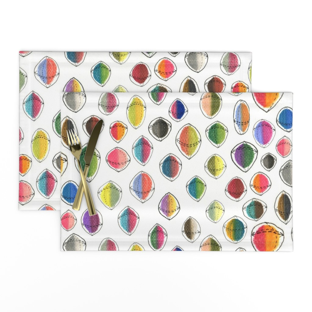 Lamona Cloth Placemats featuring colorful hemispheres, white rainbow abstract minimalist by amy_g