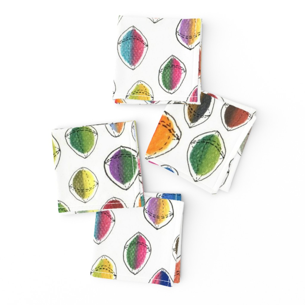 Frizzle Cocktail Napkins featuring colorful hemispheres, white rainbow abstract minimalist by amy_g